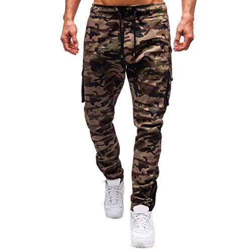 Stoota Men Cotton Casual Camouflage Zipper Flat-Front Pants