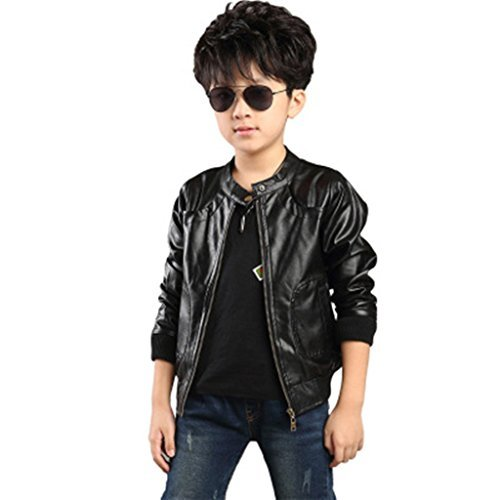 Boy's Trendy Stand Collar PU Leather Moto Jacket Leather Coat, Black, 130(6/7 yr) ()
