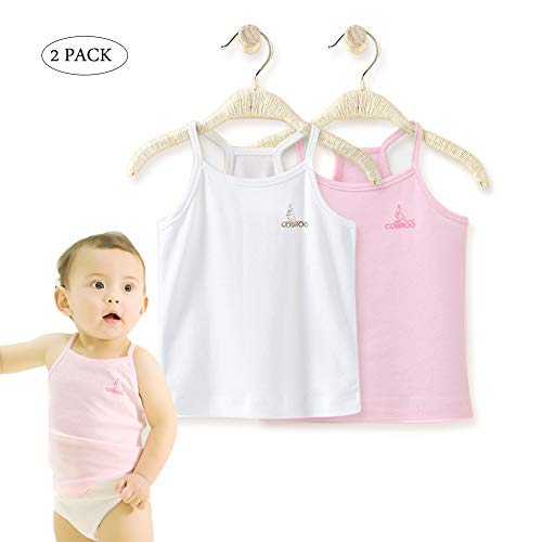 Undershirt Cotton Baby (COBROO Baby Girl Tank Tops Cotton Sleeveless T-Shirts 2-Pack Cami Undershirt 9-12M Kids)