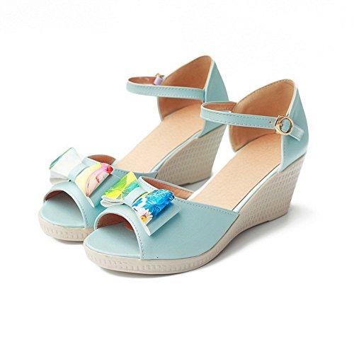 VogueZone009 Damen Fischkopf Schuhe PU Leder Gemischte Farbe Mittler Absatz Keilsandale mit Plateau Blau