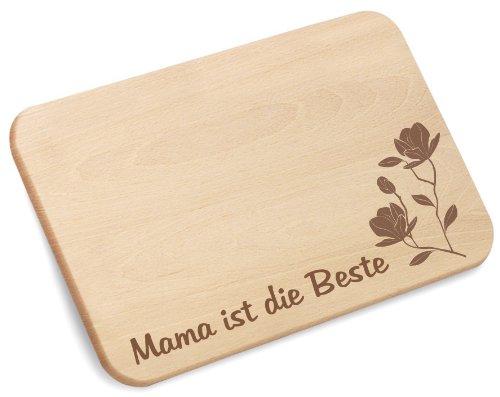 Mama ist die Beste Frühstücksbrettchen Brotzeitbrettchen aus Holz