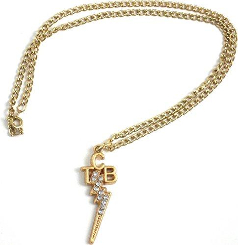 Elvis Presley TCB Logo Costume Rhinestone Pendant with Necklace [Gold - 1.5
