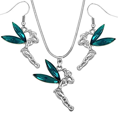 - DianaL Boutique Fairy Tinkerbell Blue Crystal Necklace and Earrings Set Tinker Bell
