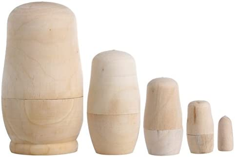 5x Unpainted DIY Blank Wooden Embryos Russian Nesting Dolls Matryoshka Toy Gifts