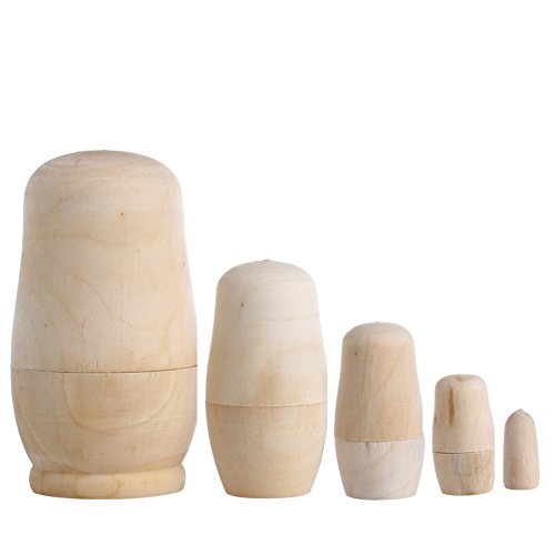 Nesting Traditional Table - UJuly 5x Unpainted DIY Traditional Russian Nesting Stacking Dolls Wooden Babushka Matryoshka GiftVintage Home Office Desk Table Decorations