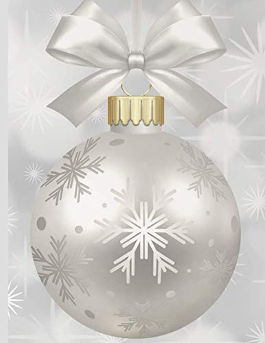 Shopping Notebook ~ White and Silver Christmas Ornament Topped with a Ribbon Bow