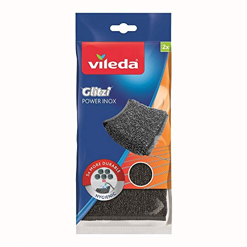 Vileda Glitzi Power Metalen Spons, 2 Stuk, 11.5 x 2 x 24.5