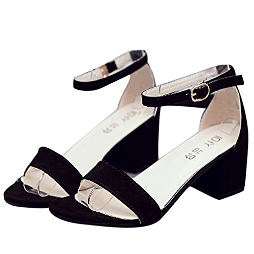 SKY Comfortable to wear it !!! Mujeres Sandalia Chunky del talón de la sola venda de las mujeres con las sandalias del verano de la correa del tobillo Negro