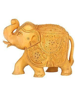Zap Impex ® Hand-Carved Wooden floral Collectible Elephant Sculpture Figure - Table & Home Decorations (4 Inch) by Zap Impex ® (Image #1)