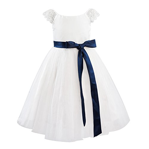 Dresslane Ivory Lace Tulle Cap Sleeves Flower Girl Dress Kids Dress/Navy Blue Sash