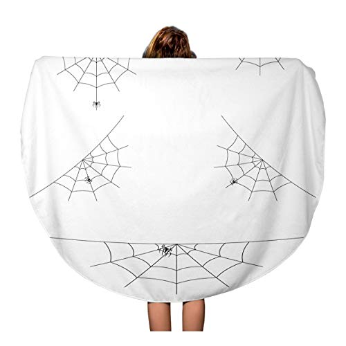 Tinmun 60 Inches Round Beach Towel Blanket Net of Spider Webs Cobwebs for Halloween Abandon Abandoned Travel Picnic Carpet Yoga Mat