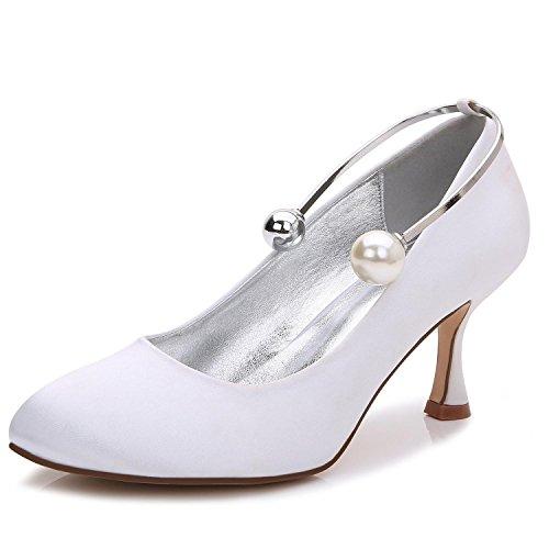 Weiß Abend Hochzeit Frauen Ball Closed Custom Party L 63 T 17061 Perlen Schuhe Heels Hochzeit YC Toe High T6w7H