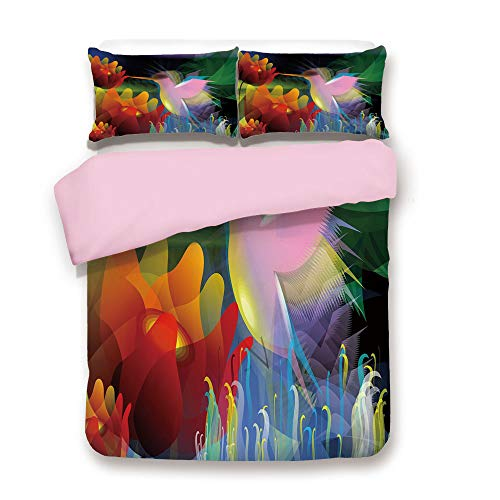 Pink Duvet Cover Set,Queen Size,Fantasy Digital Paint with A Bird Swallows Honey from Flower Stock Fractal Artwork Decorative,Decorative 3 Piece Bedding Set with 2 Pillow Sham,Best Gift For Girls ()