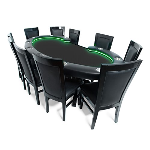 BBO Poker Lumen HD Lighted Poker Table for 10 Players with Black Speed Cloth Playing Surface, 101.5 x 46-Inch Oval, Includes 10 Dining ()
