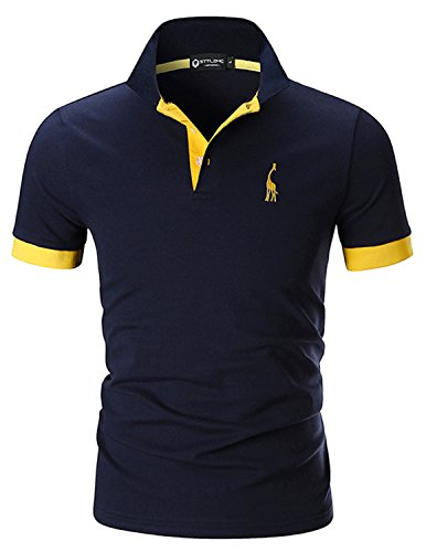 STTLZMC Men's Polo Shirts Short Sleeve Cotton Tee Button Basic Sports T-Shirts (XXXX-Large, Navy Blue)