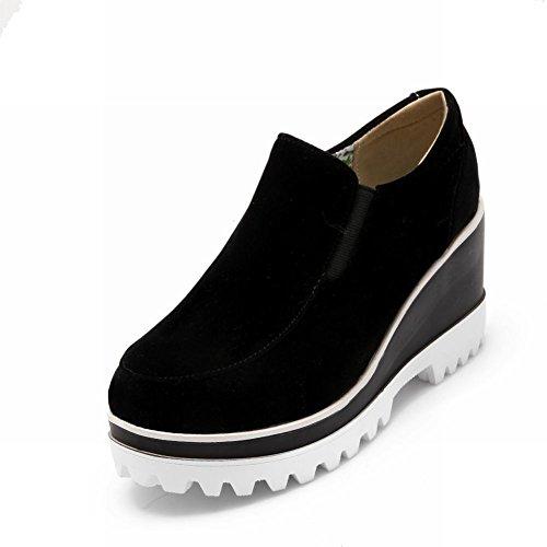 Carolbar Dames Bungee Mode Pull-on Casual Comfort Platform Sleehak Schoenen Zwart