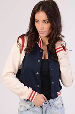Womens Baseball Jacket: Amazon.co.uk: Clothing