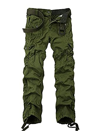 Men's Cotton Washed Multi Pockets Military Cargo Pant at Amazon ...