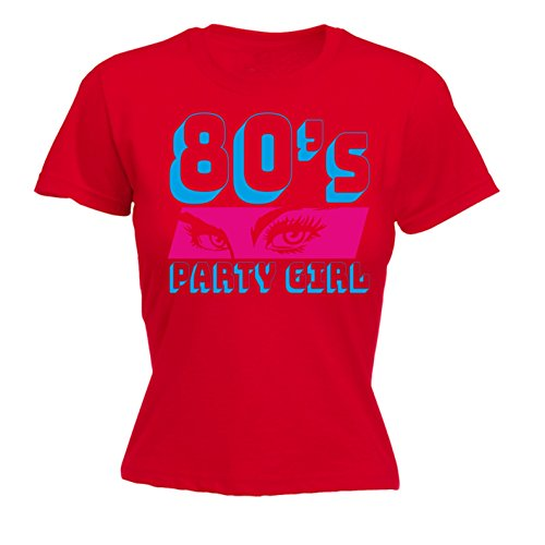 123t Womans Party Girl - Fitted T-Shirt Costume Retro Fancy Dress Disco  80's Birthday: Amazon.co.uk: Clothing
