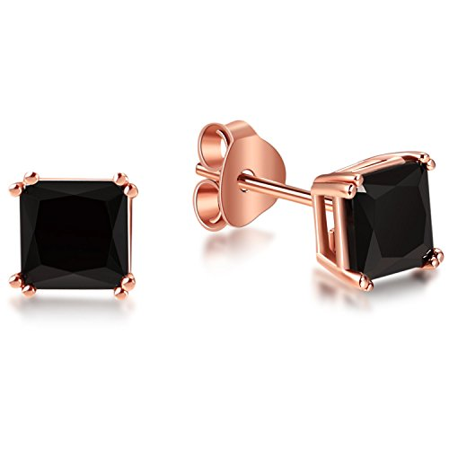 Lanroque Rose Gold Plated Sterling Silver Black Princess Cut Cubic Zirconia Stud Earrings for Women and Men