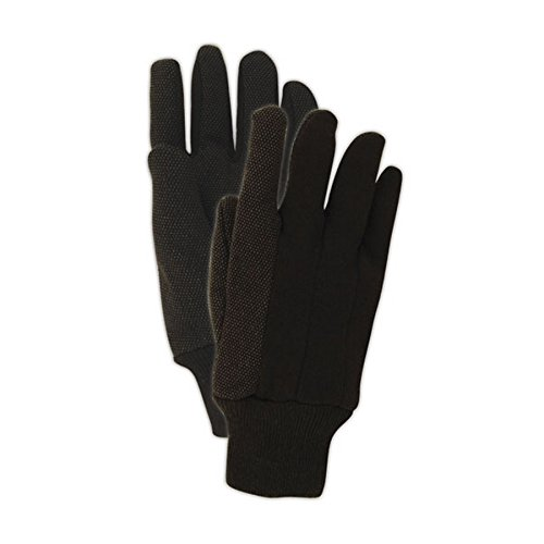 Dotted Jersey Glove - Magid Safety T92P MultiMaster Glove | PVC Dotted Jersey Gloves - Large, Dark Brown (12 Pairs)