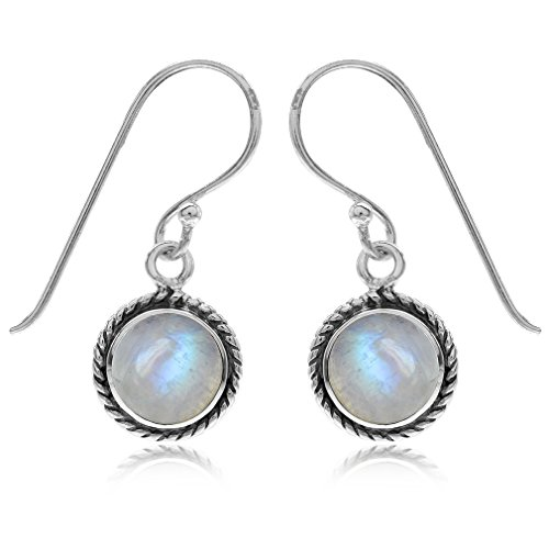 Natural Moonstone 925 Sterling Silver w/Antique Finish Rope Dangle Hook Earrings