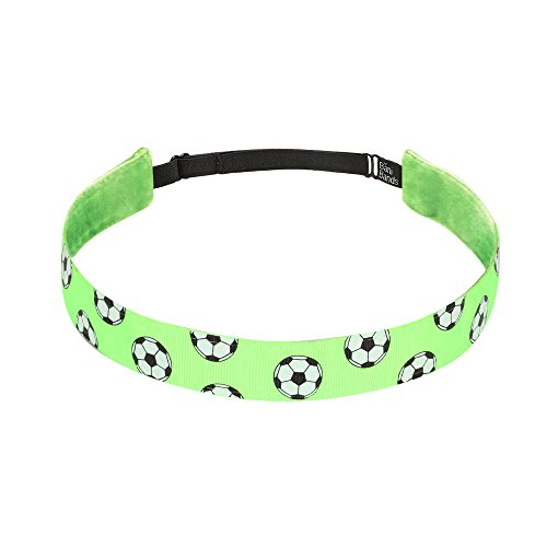Non Slip Headbands for Girls | BaniBands Soccer Headband for Women | Fun Colors and Patterns, Unique No Slip Headband Design | Sports Themes for Soccer | Soccer-Lime