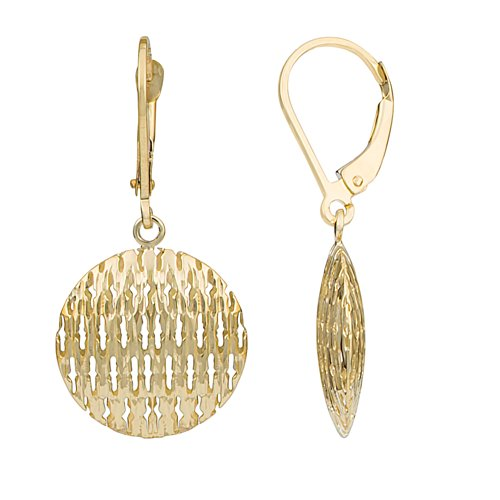 14k Yellow Gold Puffed Discs Leverback Earrings - Drop Disc Round