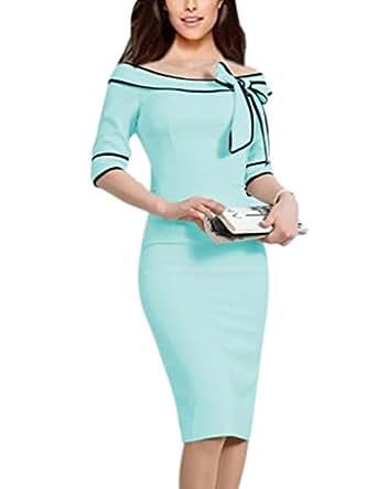 Women's 1950s Retro 3/4 Sleeve Bow Cocktail Party Evening Dress Work Pencil Dress (S, Light Blue)