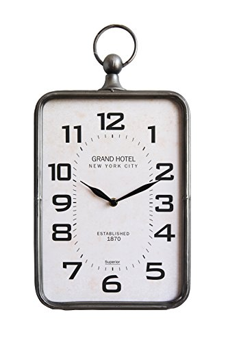Creative Co-Op DA9612 Metal Rectangle Hanging Clock with Handle Decoration on Top