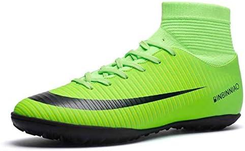 靴 人のための最高の滑り止めの身につけられるおよび快適なフットボールのブーツのサッカーのクリート (色 : TF Green, サイズ : 7.5)