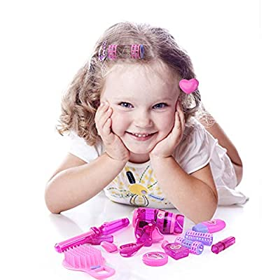KYToy 9 Piece Vogue Girls Beauty Salon Playset for Kids Make Up Kit Pretend Play Barber Shop Toy Hair Salon Set Including Hair Dryer, Comb, Curler, Make Up Accessories(XM335-D): Toys & Games