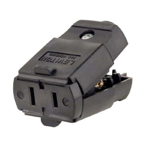 Leviton 102-EP 15 Amp, 125 Volt, 2P, 2W, Connector, Straight Blade, Residential Grade, Black - Residential Straight Blade
