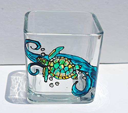 Sea Turtle Blue Ocean Hand Painted Stained Glass Square Candle Holder -