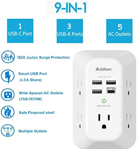 414%2B fvfVdL. AC USB Wall Charger, Surge Protector, 5 Outlet Extender with 4 USB Charging Ports ( 1 USB C Outlet) 3-Sided 1800J Power Strip Multi Plug Outlets Wall Adapter Spaced for Home Travel Office, ETL Listed    Product Description