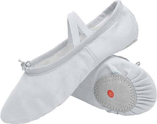 L-RUN Classic Ballet Slipper with Drawstring Topline Canvas Dance Shoes White