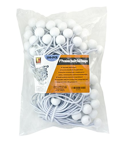 (6 inch 100 Piece Heavy Duty 5mm Ball Bungee Canopy Cord By Wellmax, White)