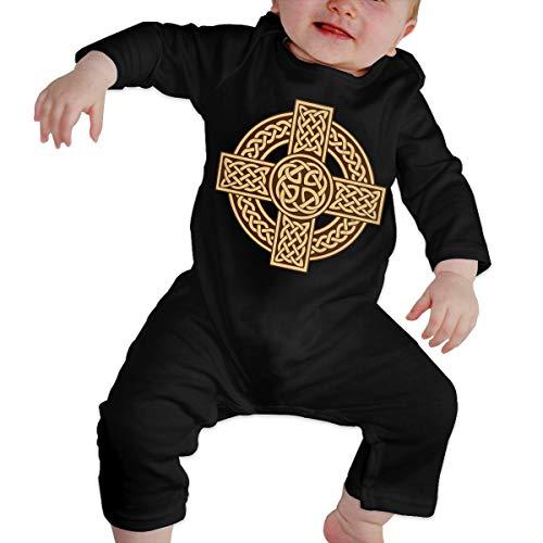 Newborn Baby Infant Cartoon Celtic Cross Irish Scottish Graphic Romper Jumpsuit Bodysuit