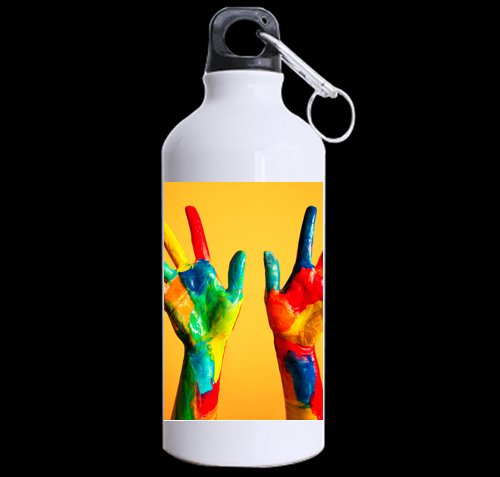 Colorful Handpaint DIY Personalized Custom Sport Water Bottle Travel Cup 13.5 OZ (Twin Sides Print) Design Your Own Nice Gift Art Prints Twin Sides