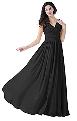 Exlinalesha Women's V-neck Prom Gowns Long Bridesmaid Dresses ELF420