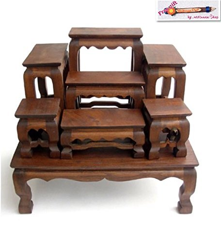 Baan Tawai, Chiang Mai, Thailand Antiques Wood Carving Buddha Table Set Shelf Statue Figurine Stand(bdts). by Wedsuwan Shop