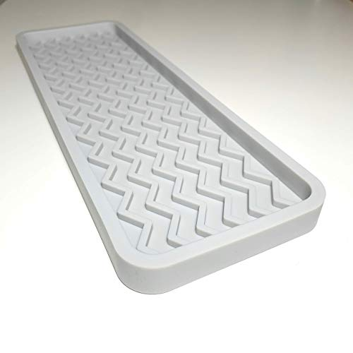SMRTLVNG Silicone Kitchen Sink Organizer Tray, Light Grey, 12 inches x 4 inches, 9.2 ounces