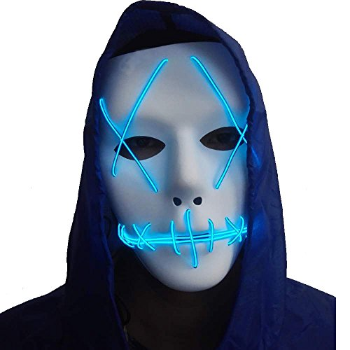 A-MORE Halloween Mask Cosplay LED Glow Scary EL Wire Light up Grin Masks for Festival Parties Costume (Blue)]()