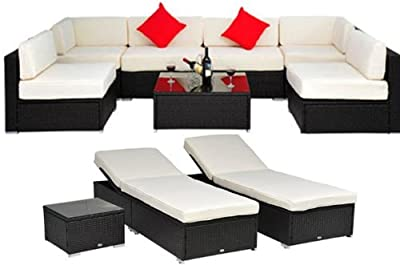 Outsunny Deluxe Outdoor Patio PE Rattan Wicker 10 pc Sofa Sectional / Chaise Lounge Furniture Set