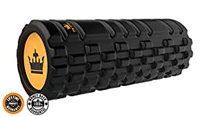 Foam Roller for Muscle Exercise and Myofascial Massage :: Physical Therapy, Grid Textured Fitness Rollers Best For Stretching, Tension Release, Pilates & Yoga - Black