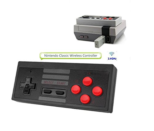 Wireless Game Controller for NES Classic Portable Super Sensitive Buttons For Precision Control,Wireless game controller, Use AAA battery plug and play, 2.4G Wireless Receiver (black) - Wireless Controller Black Video Games