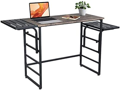 Homfa L-Shaped Corner Computer Desk with Monitor Stand, 62.20 47.24 X 28.3 inches Study PC Laptop Writing Table Gaming Desk Home Office Workstation Wood Metal, Black