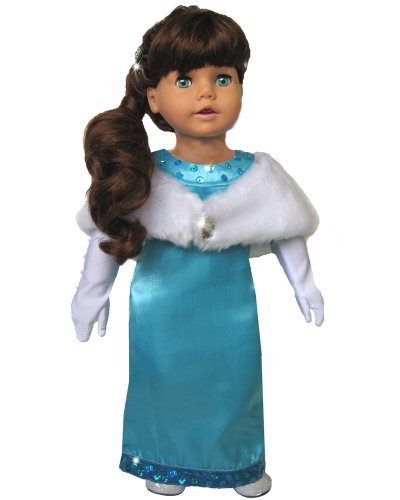 18 Inch Doll Clothing 3 Pc. Set Fits American Girl Dolls & More! (Doll Shoes Sold Separately) Dressy Doll Gown in Turquoise, Fur Stole & Gloves