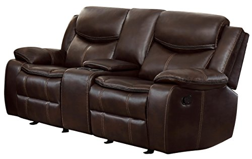 Homelegance Bastrop Double Glider Reclining Loveseat Leather Gel Matched with Accent Stitching, (Designer Style Leather Loveseat)