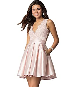Yilis Women's A Line V Neck Lace Homecoming Dress Short Prom Evening Party Gown with Pockets